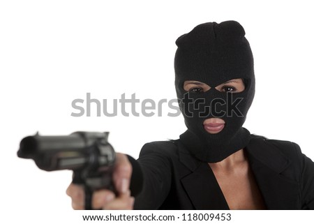 one hooded robber pointing gun