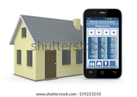 one house and smartphone with a software for home automation (3d render) - stock photo