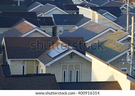 One house installation solar panels on the roof - stock photo