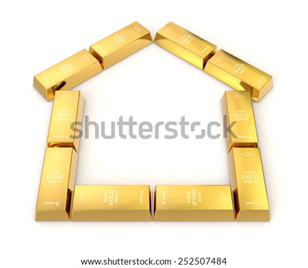 one house silhouette made with gold bars, concept of protecting your investment (3d render) - stock photo
