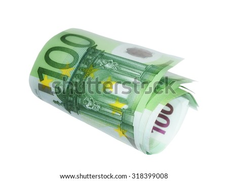 one hundred banknote euro isolated on white - stock photo