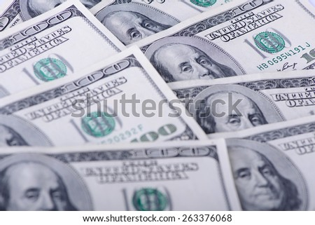 One hundred banknotes as a background close-up - stock photo
