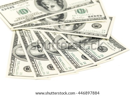 One hundred  banknotes as background isolated on white - stock photo