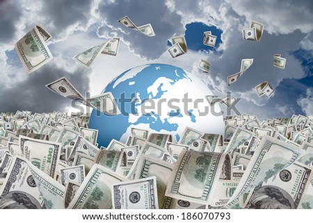 One hundred dollar banknotes flying and falling on money farm and around earth globe, cloudy background.