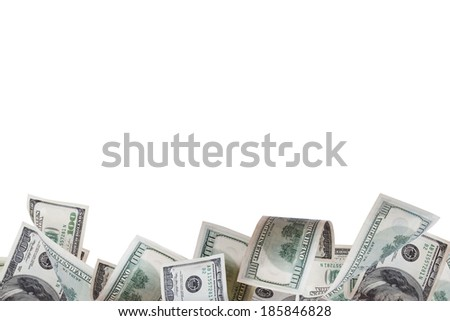 One hundred dollar banknotes flying and in motion, isolated on white background. - stock photo