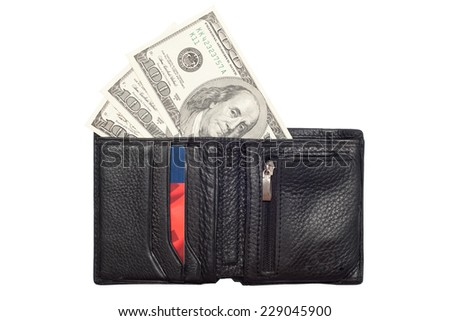 One hundred dollar banknotes in black wallet, isolated on white background. - stock photo