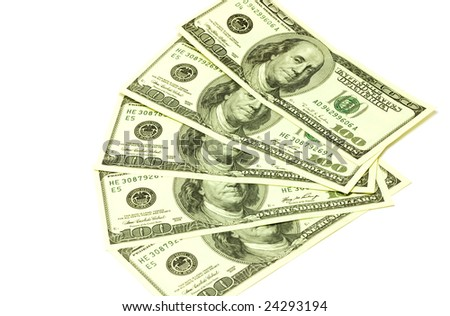 One hundred dollar banknotes on white