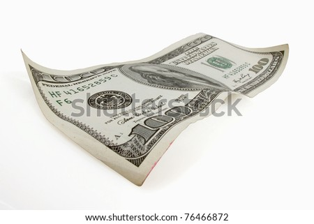 One hundred dollar bill appears to float on white