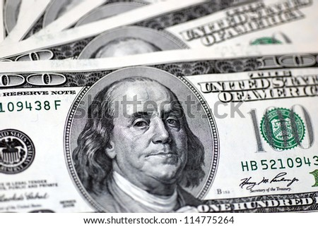 one hundred dollar bill, close up - stock photo