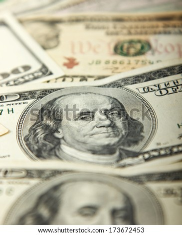 One hundred dollar bill, close-up of Franklin president of USA