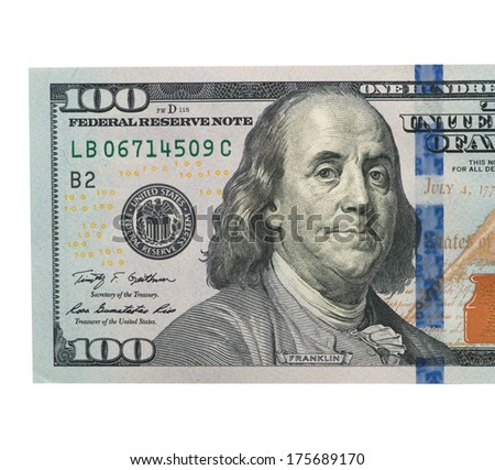 one hundred dollar bill closeup on white background - stock photo