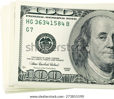 One Hundred Dollar Bill, Currency, Stack. - stock photo