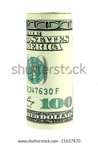 One hundred dollar bill roll isolated on white - stock photo