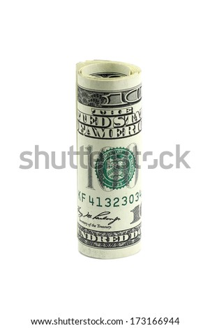 one hundred dollar bill rolled into a roll on a white background
