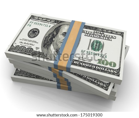One hundred dollar (100$) bills - stock photo