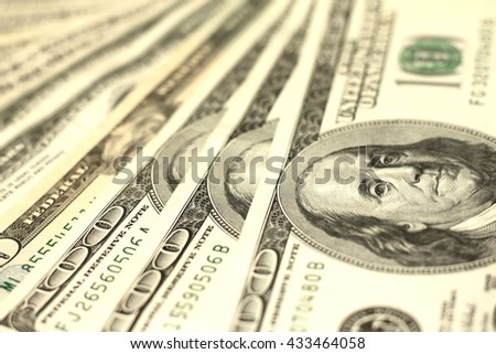 One Hundred Dollar Bills Close-up - stock photo