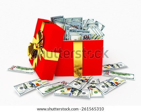 One hundred dollar bills in a gift box isolated on white background - stock photo