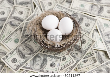 One hundred dollar bills in nest with eggs - stock photo