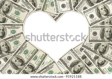 One hundred dollar bills in the shape of a heart isolated on white background, The love of money - stock photo