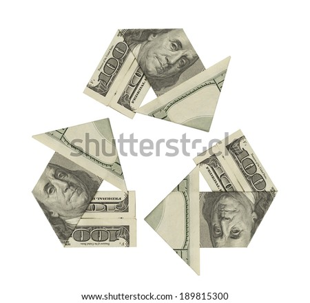 One Hundred Dollar Bills ina Recycle Symbol Isolated on White Background. - stock photo