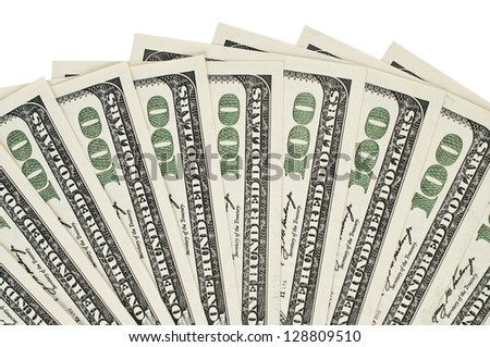 One hundred dollar bills on white - stock photo