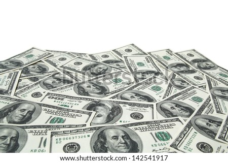 one hundred dollar bills on white background