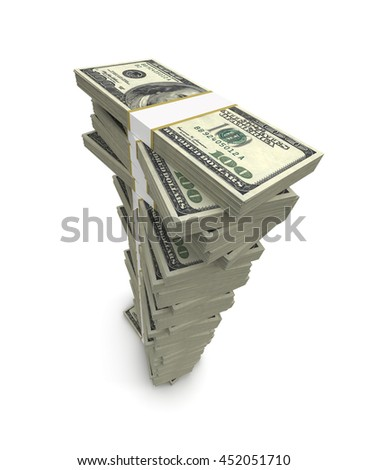 One Hundred Dollar Bills Stack - 3D Rendering