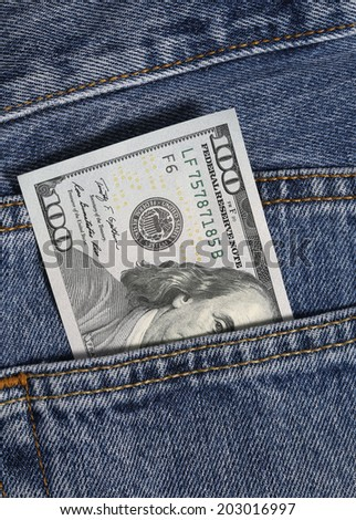 one hundred dollar in jeans pocket
