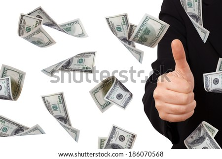 One hundred dollar money banknotes flying and falling down with confirmation sign of young business woman, isolated on white background. - stock photo
