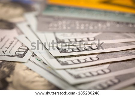 One Hundred Dollars and Credit Cards - stock photo