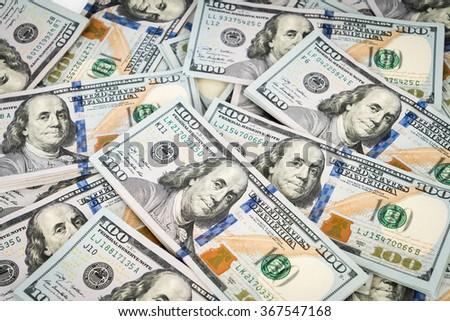 One hundred dollars background. - stock photo