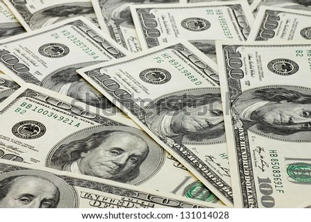 one hundred dollars banknotes background