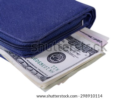 One hundred dollars banknotes in wallet on white background  - stock photo