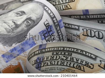 One hundred dollars bill background. - stock photo