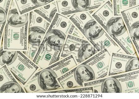 One hundred dollars bill background - stock photo