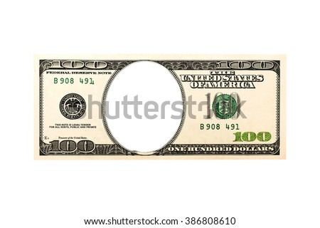 One hundred dollars bill with no face isolated on white - stock photo