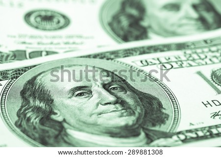 one hundred dollars conceptual background. studio shot - stock photo