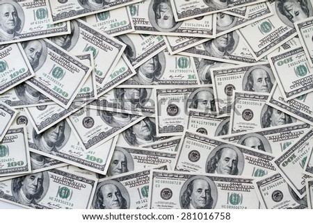 One hundred dollars notes background  - stock photo