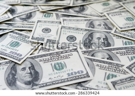 One hundred dollars notes background