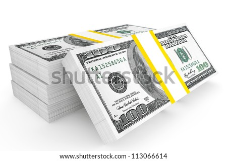 One hundred dollars stack on a white background - stock photo