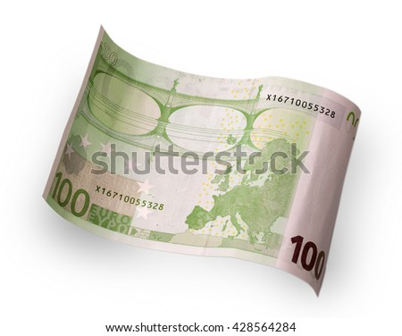 one hundred euro banknote behind wave carved on a white background - stock photo