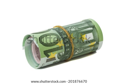 One hundred euro banknotes roll with  rubber isolated on white background  - stock photo