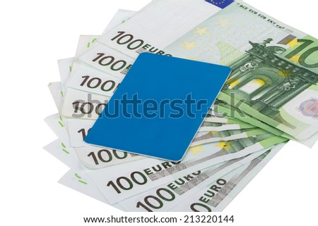One hundred euro banknotes with blue credit card. - stock photo