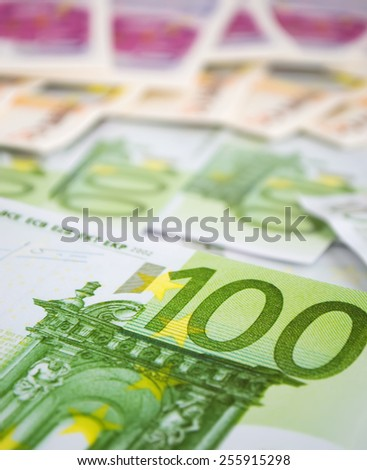 one hundred euro bills close up - stock photo