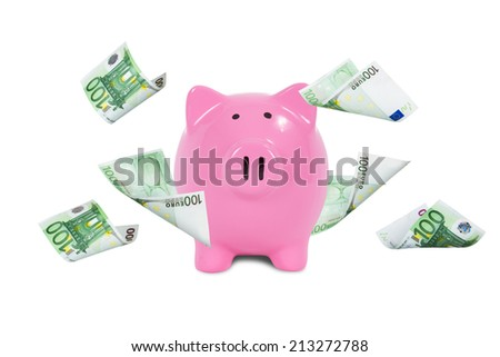 One hundred euro money banknotes flying and falling around pink piggy bank, isolated on white background. - stock photo