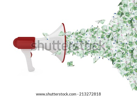 One hundred euro money banknotes flying out of megaphone, isolated on white background. - stock photo