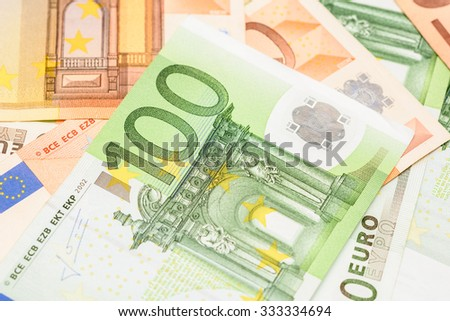 One Hundred Euros Banknote On Euro Bills Background - stock photo