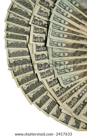 one hundred,fifty and twenty dollar bills in fan shape on white - stock photo