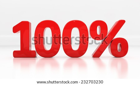 One hundred percent off. Discount 100.  Percentage. 3D illustration - stock photo