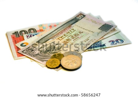 One hundred sixty Hong Kong Dollars and change on a white background. - stock photo